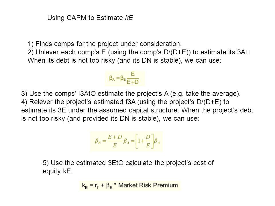 Using CAPM to Estimate kE