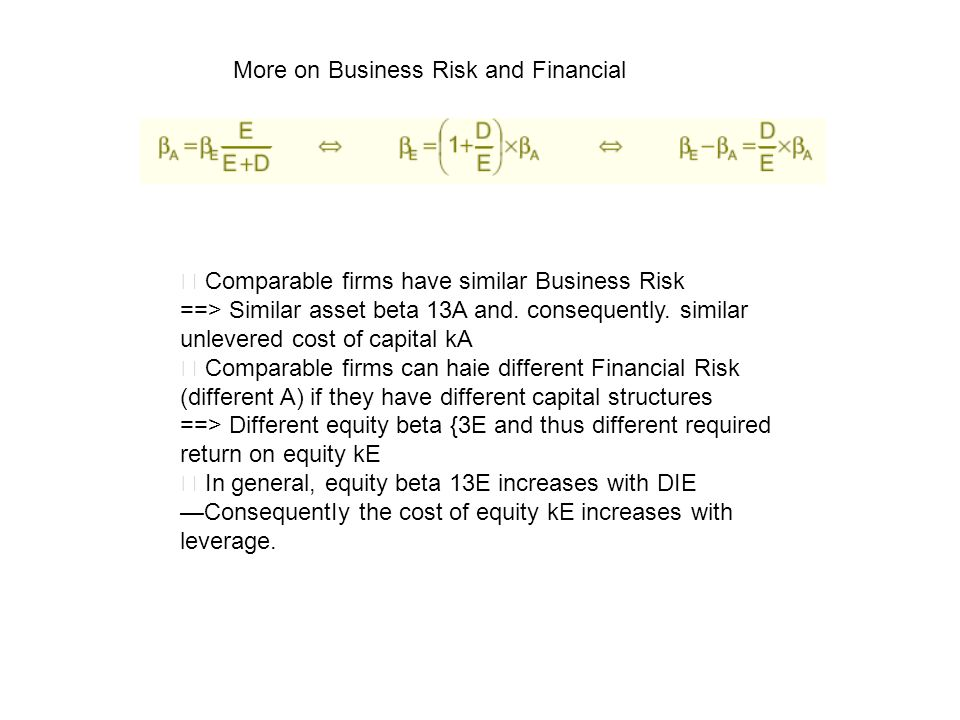 More on Business Risk and Financial