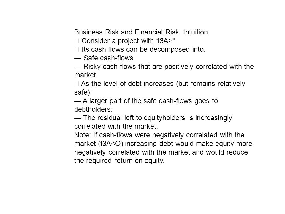 Business Risk and Financial Risk: Intuition