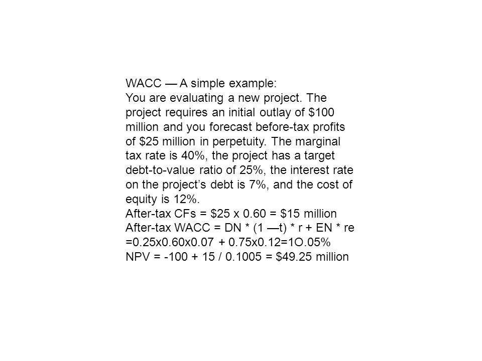 WACC — A simple example: