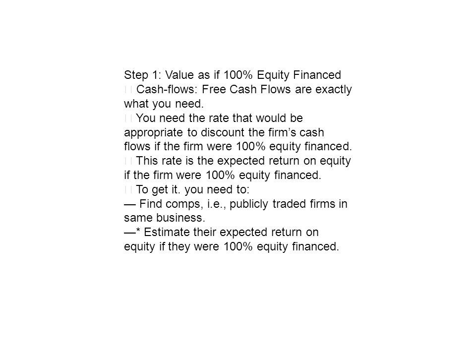 Step 1: Value as if 100% Equity Financed