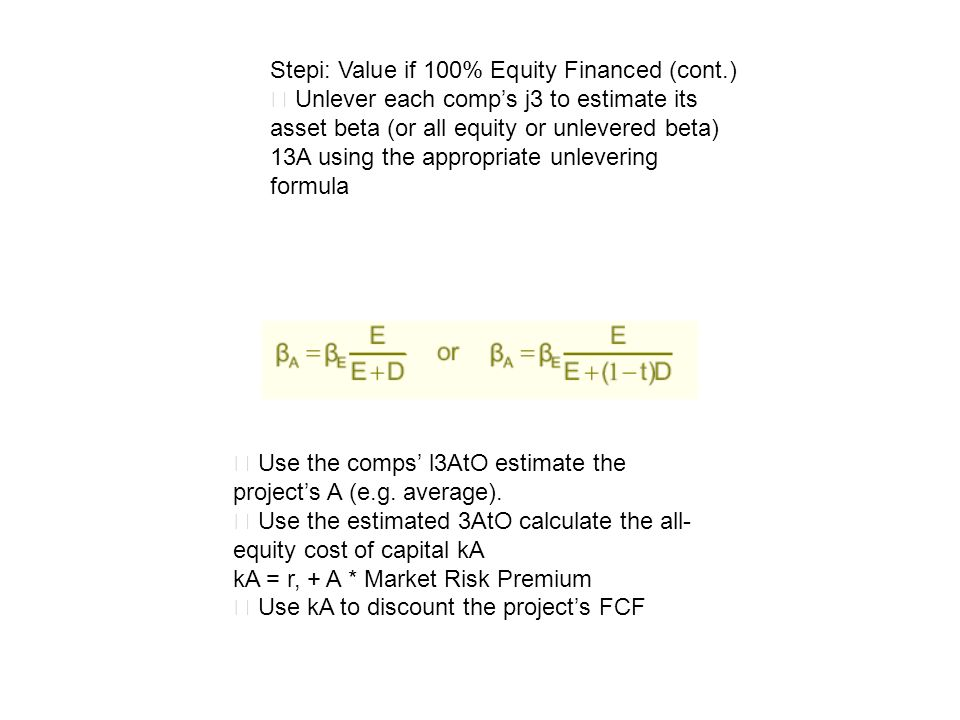 Stepi: Value if 100% Equity Financed (cont.)
