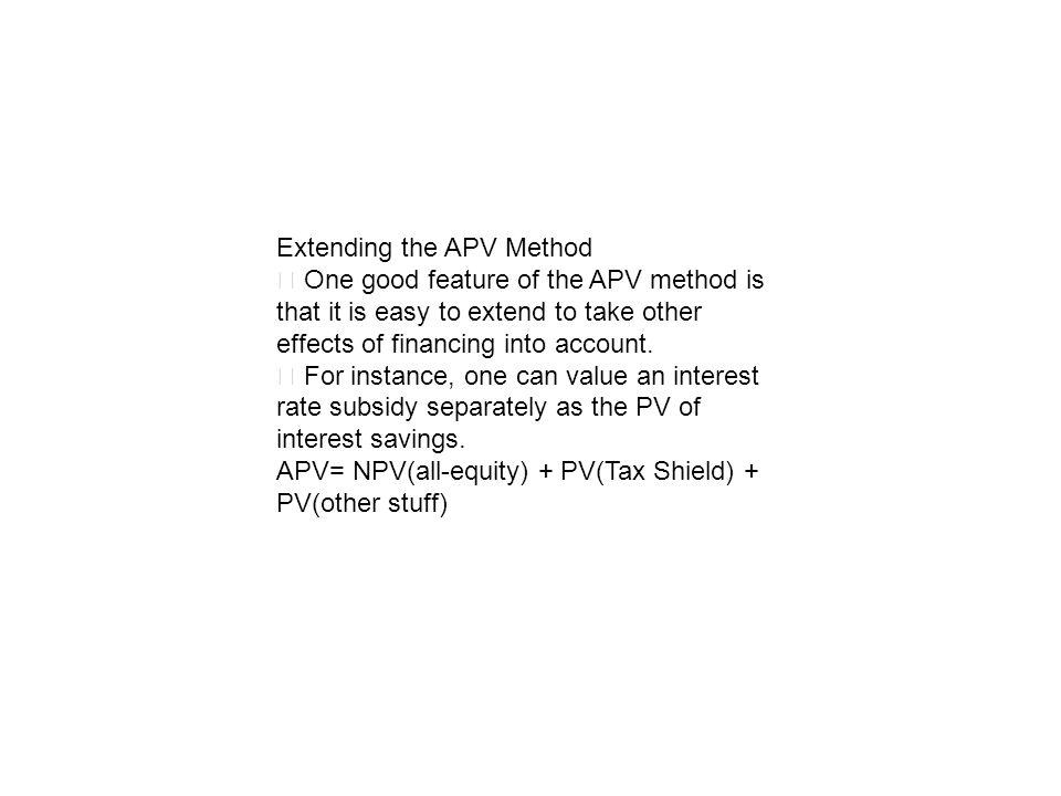 Extending the APV Method