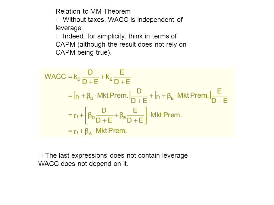 Relation to MM Theorem ‧ Without taxes, WACC is independent of leverage.