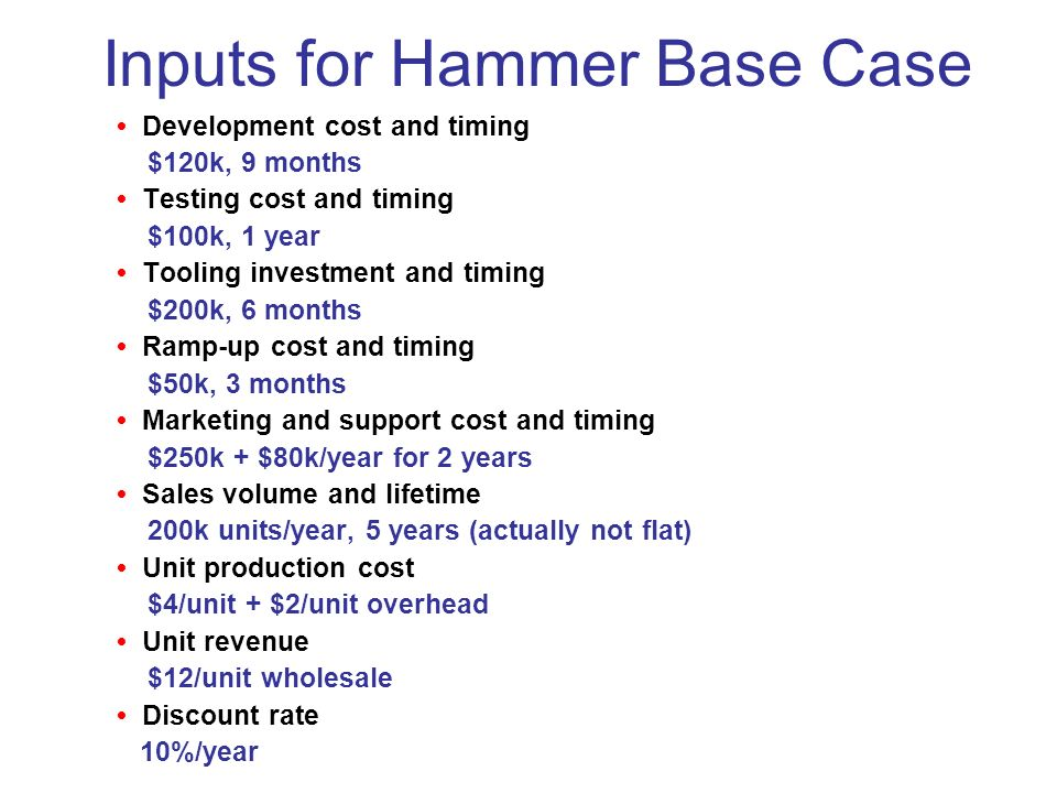 Inputs for Hammer Base Case