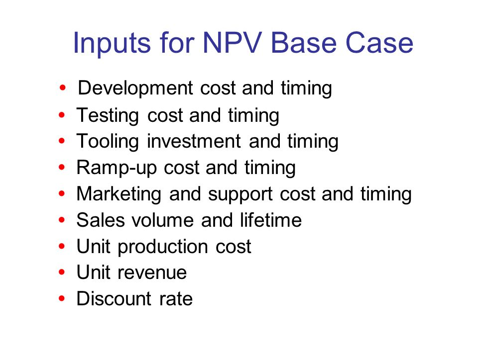 Inputs for NPV Base Case