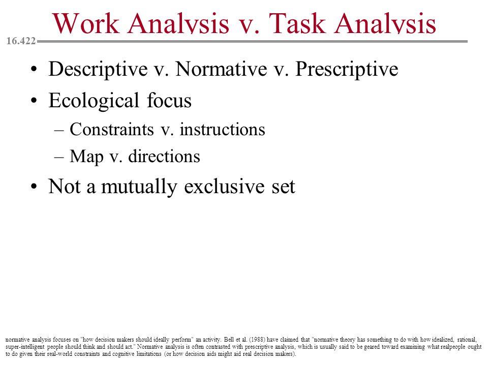 Work Analysis v. Task Analysis