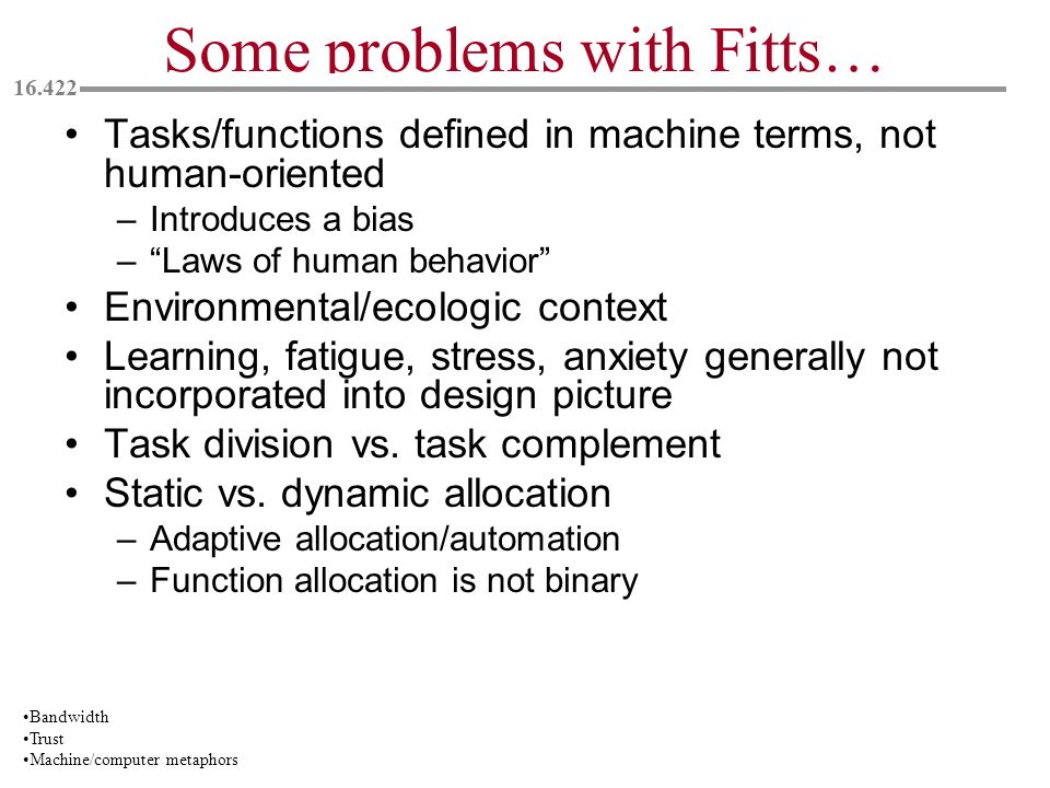 Some problems with Fitts…