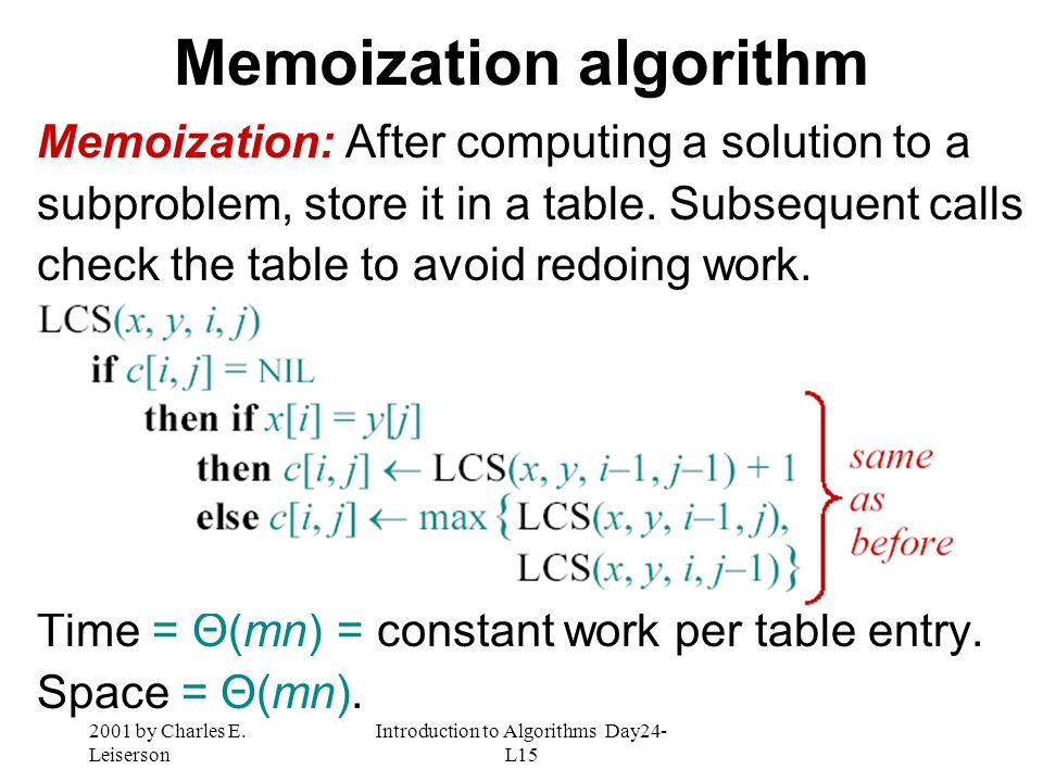Memoization algorithm