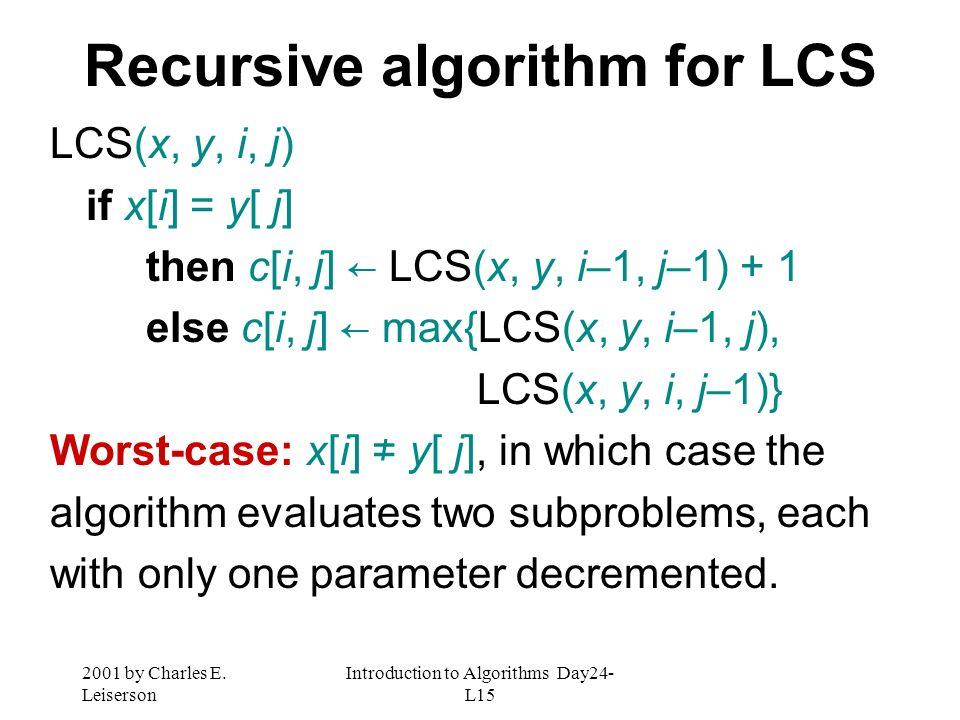 Recursive algorithm for LCS