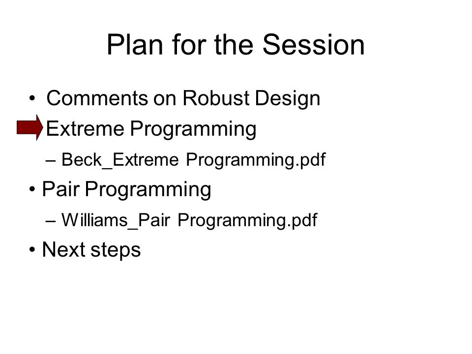 Plan for the Session Comments on Robust Design Extreme Programming