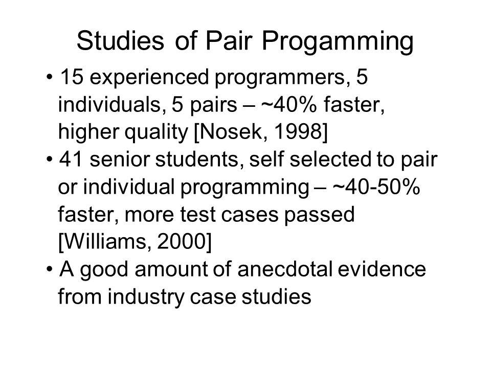 Studies of Pair Progamming