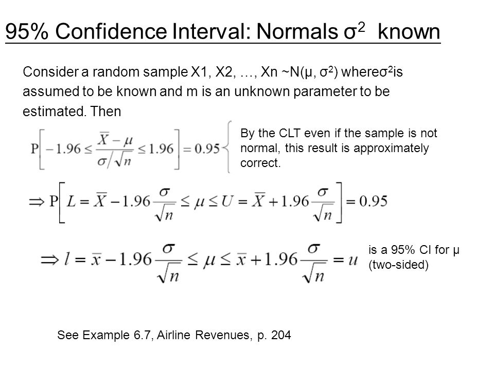 95% Confidence Interval: Normals σ2 known