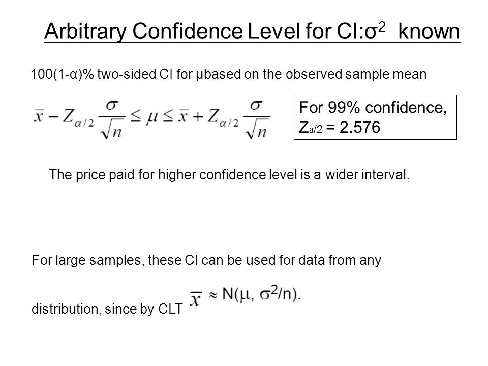Arbitrary Confidence Level for CI:σ2 known