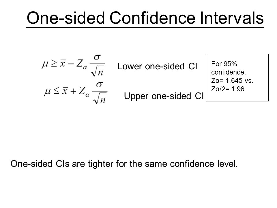 single sided lower confidence level