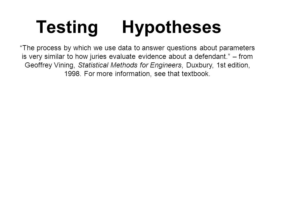 Testing Hypotheses The process by which we use data to answer questions about parameters.