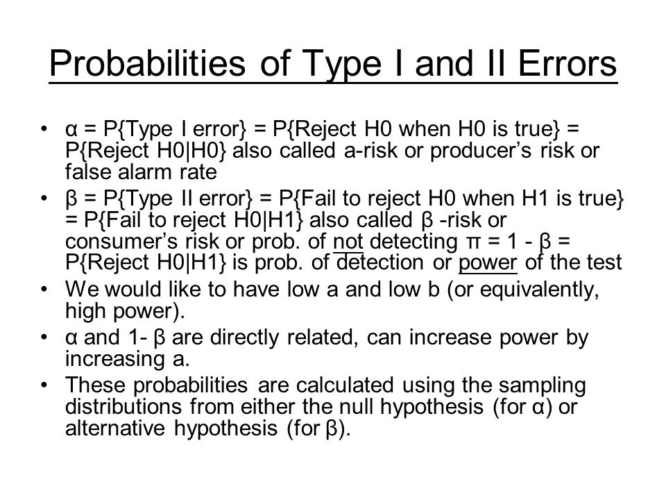 Probabilities of Type I and II Errors