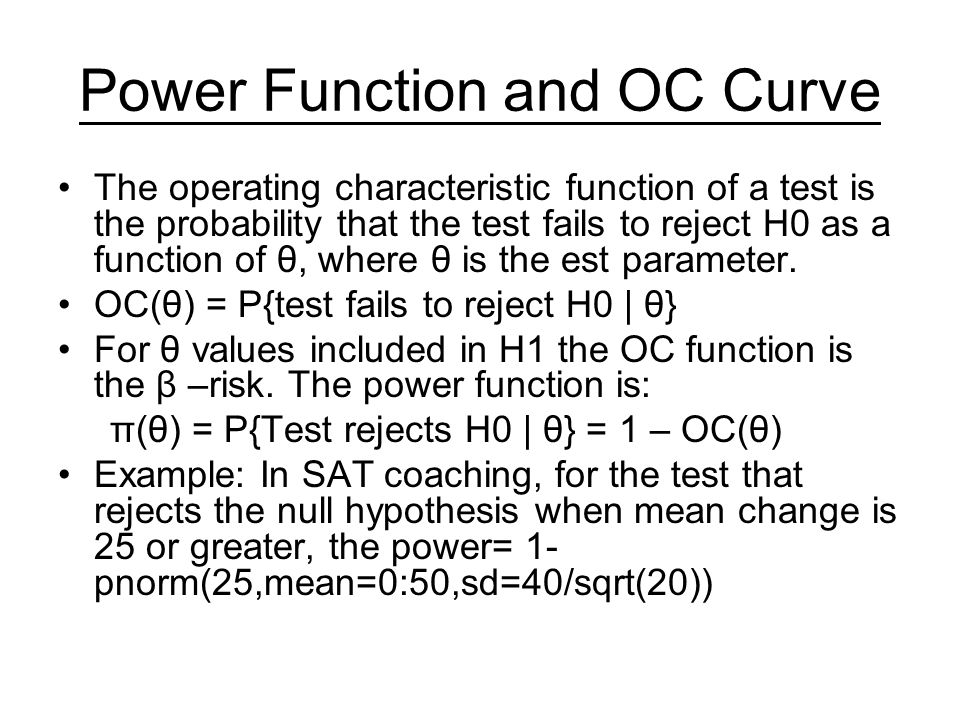 Power Function and OC Curve