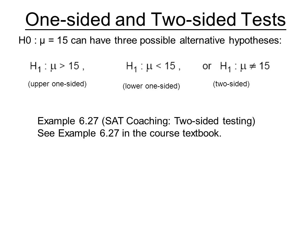 One-sided and Two-sided Tests
