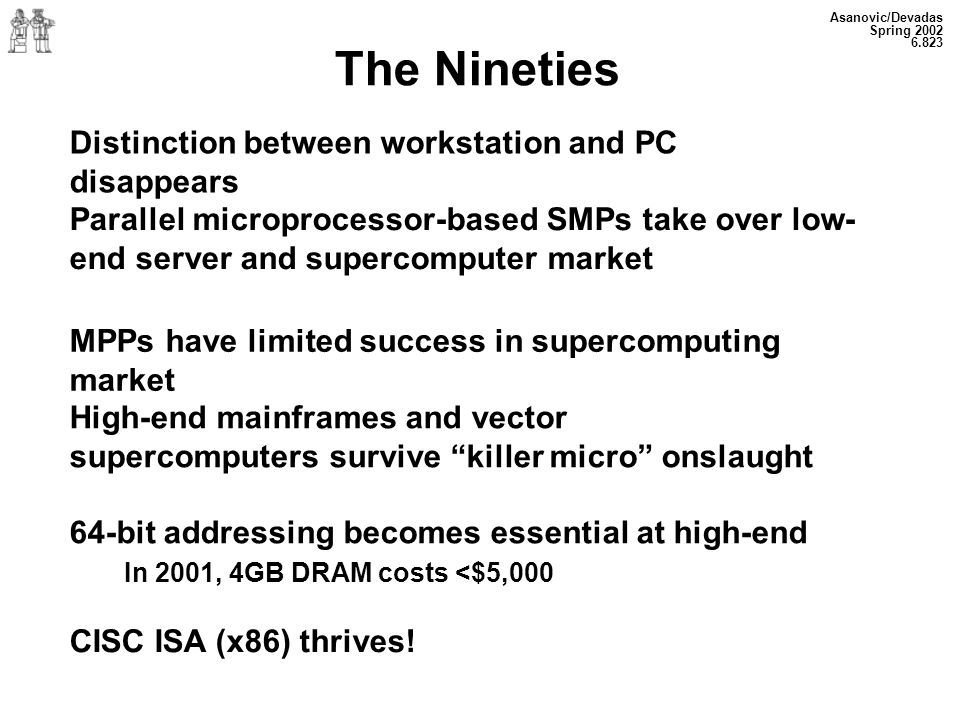 The Nineties Distinction between workstation and PC disappears
