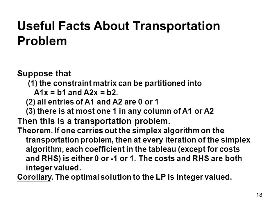 Useful Facts About Transportation Problem