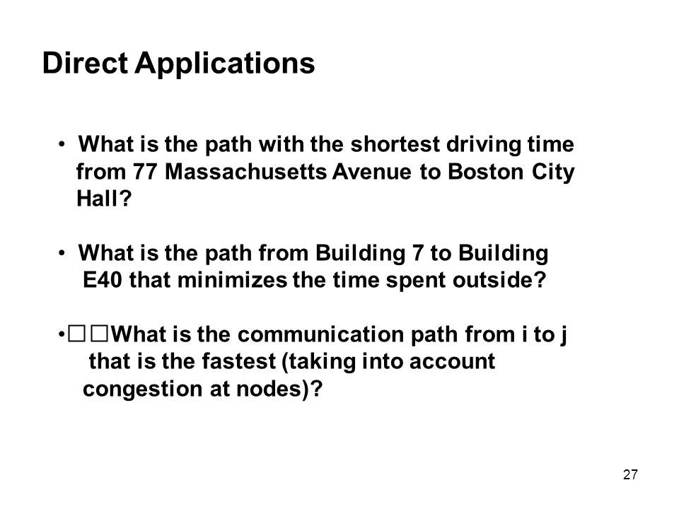 Direct Applications What is the path with the shortest driving time