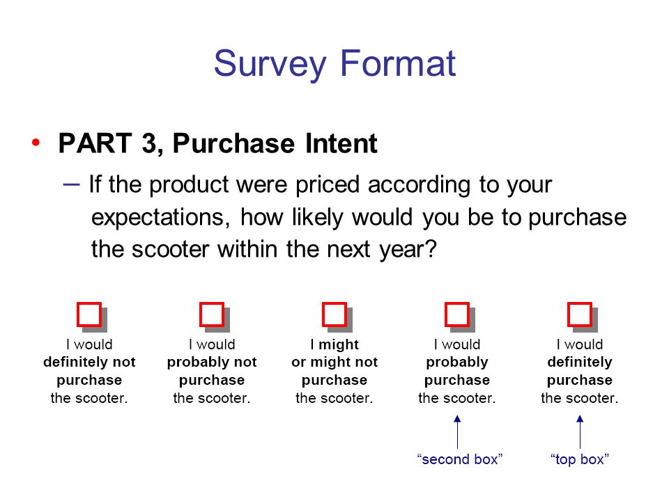 Survey Format • PART 3, Purchase Intent