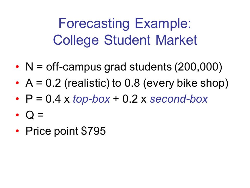 Forecasting Example: College Student Market