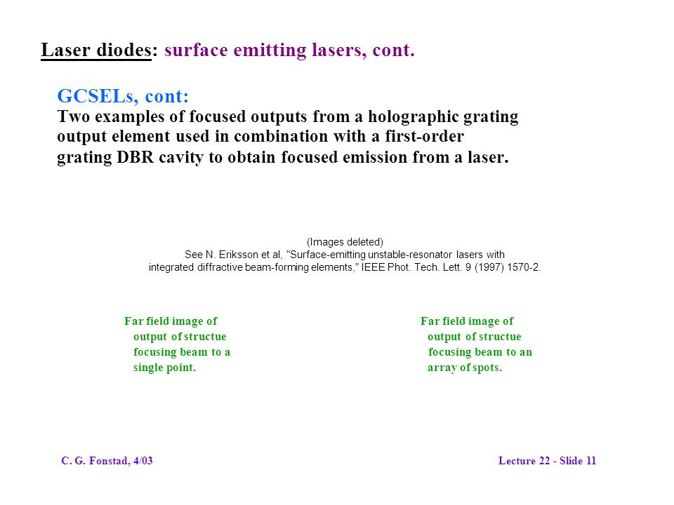 Laser diodes: surface emitting lasers, cont.
