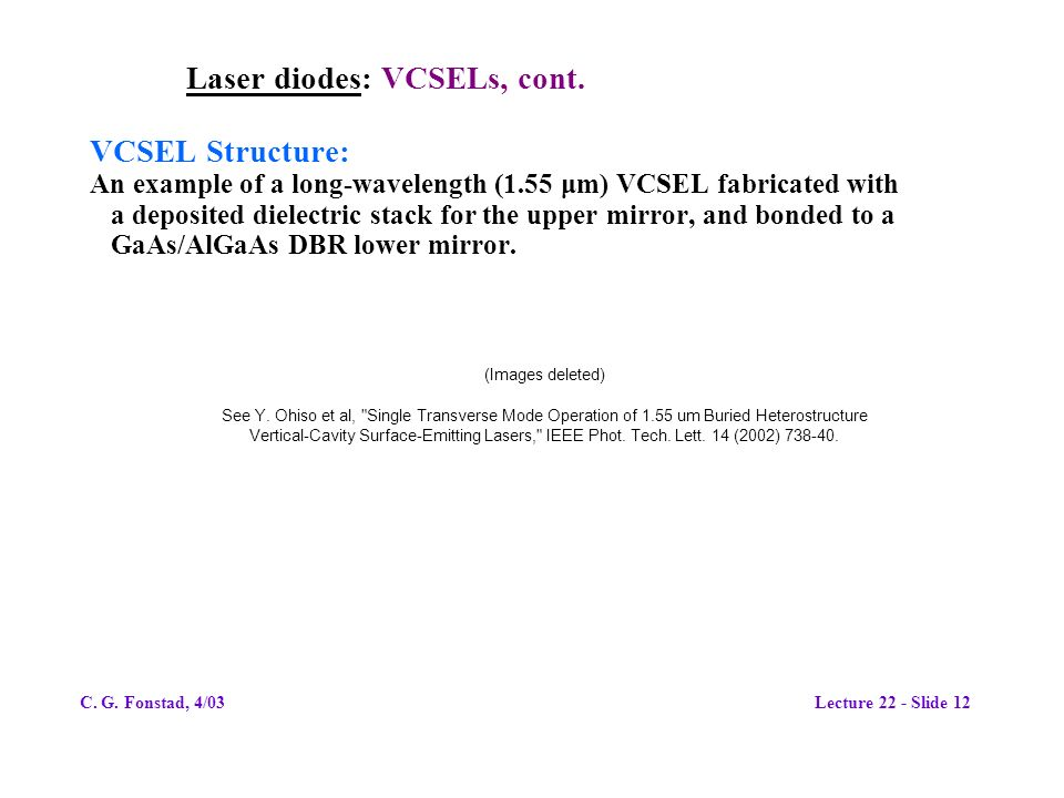 Laser diodes: VCSELs, cont.