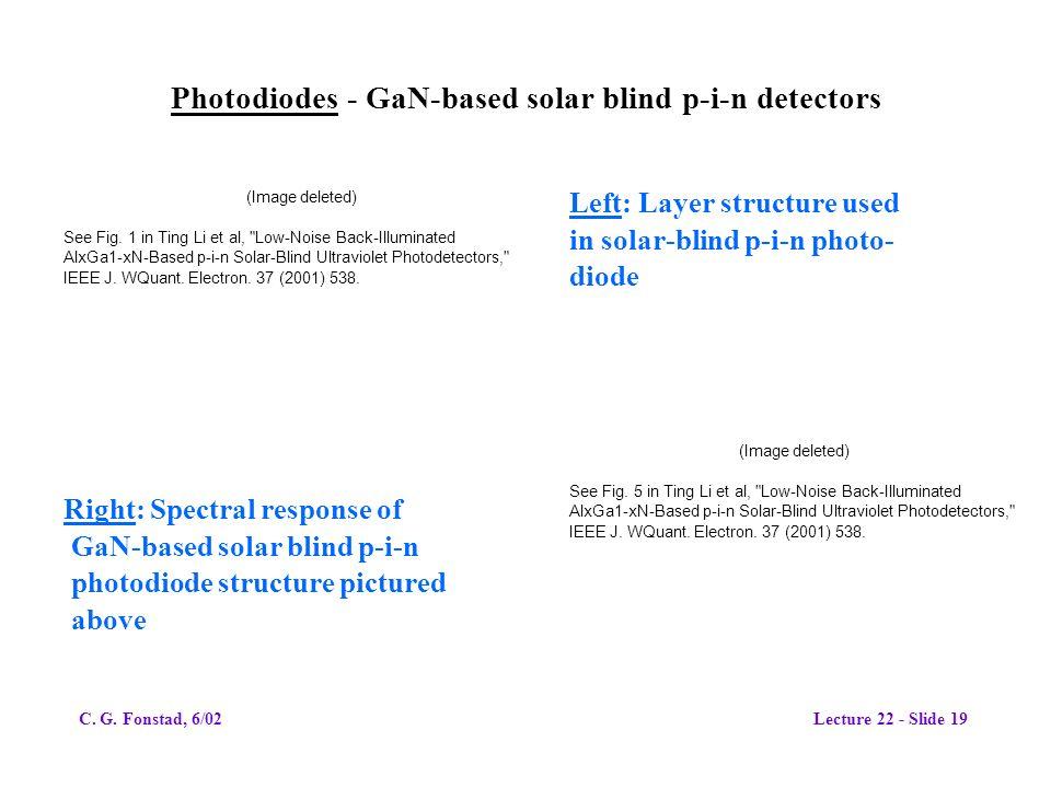 Photodiodes - GaN-based solar blind p-i-n detectors
