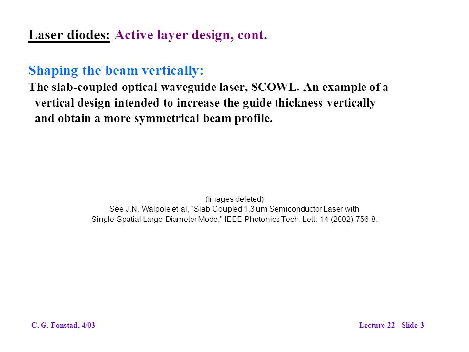 Laser diodes: Active layer design, cont.
