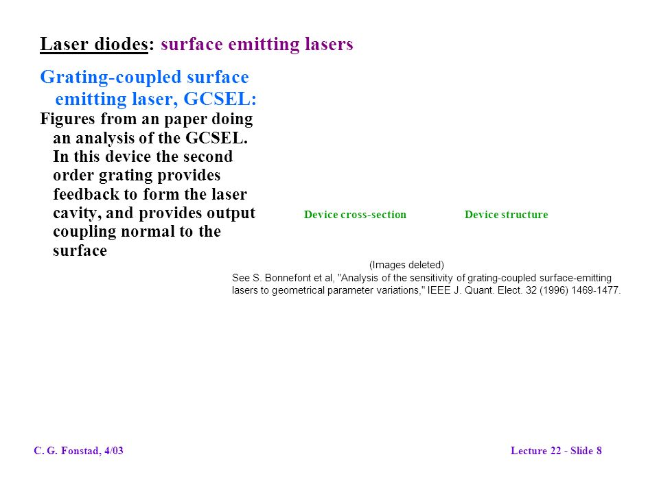 Laser diodes: surface emitting lasers