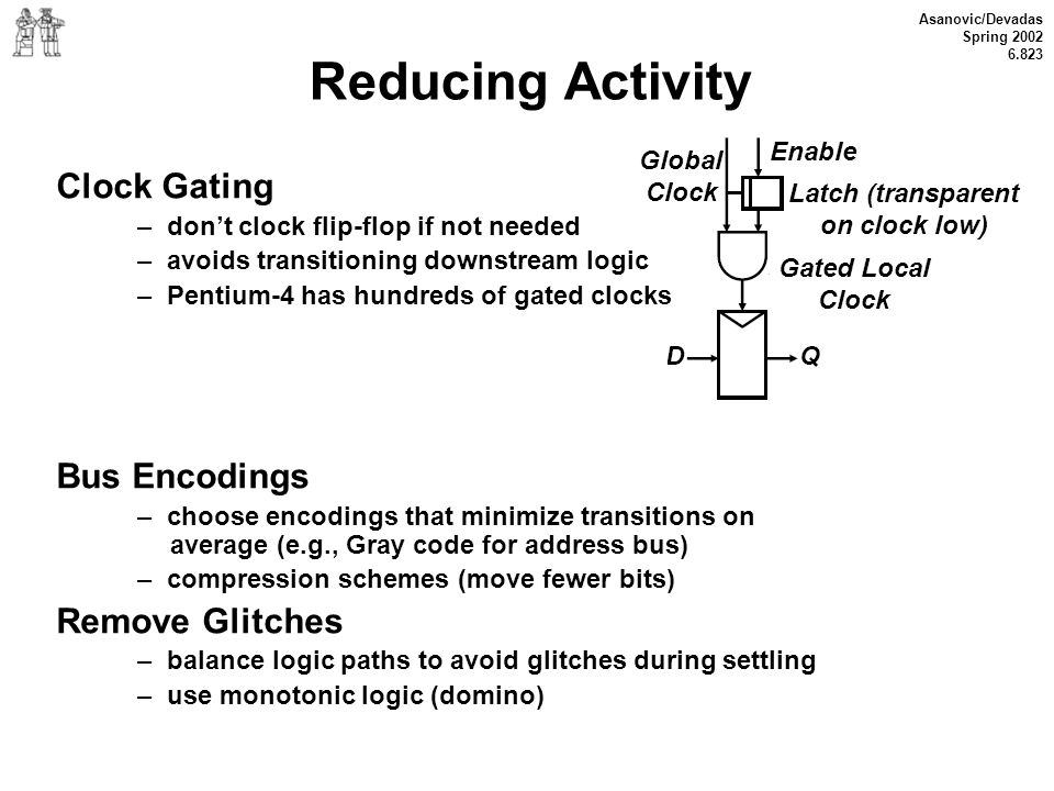 Reducing Activity Clock Gating Bus Encodings Remove Glitches Enable