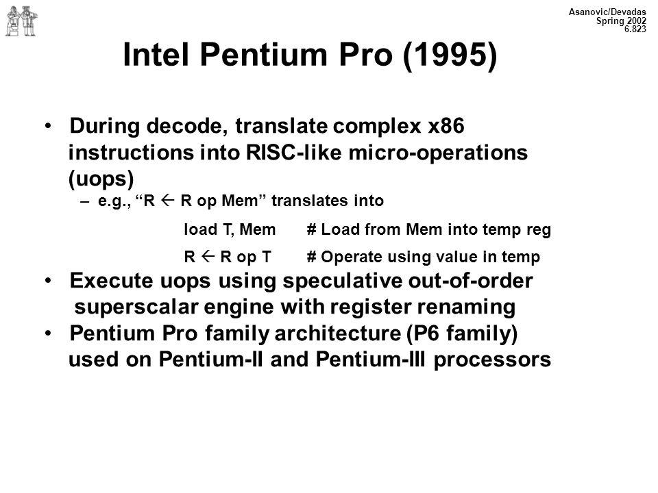 Intel Pentium Pro (1995) During decode, translate complex x86
