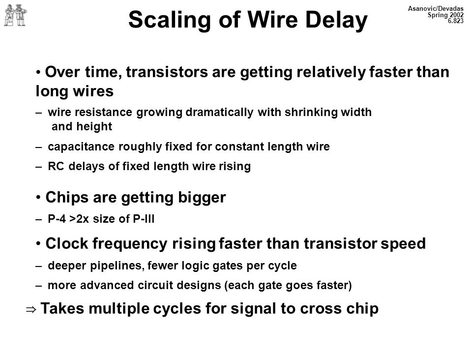 Scaling of Wire Delay Asanovic/DevadasSpring 2002. 6.823. Over time, transistors are getting relatively faster than long wires.