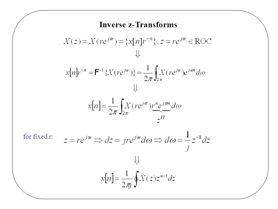 Inverse z-Transforms for fixed r: