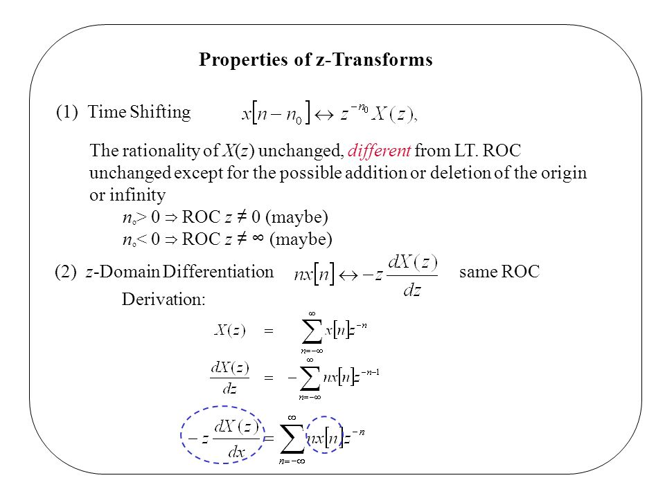 Properties of z-Transforms