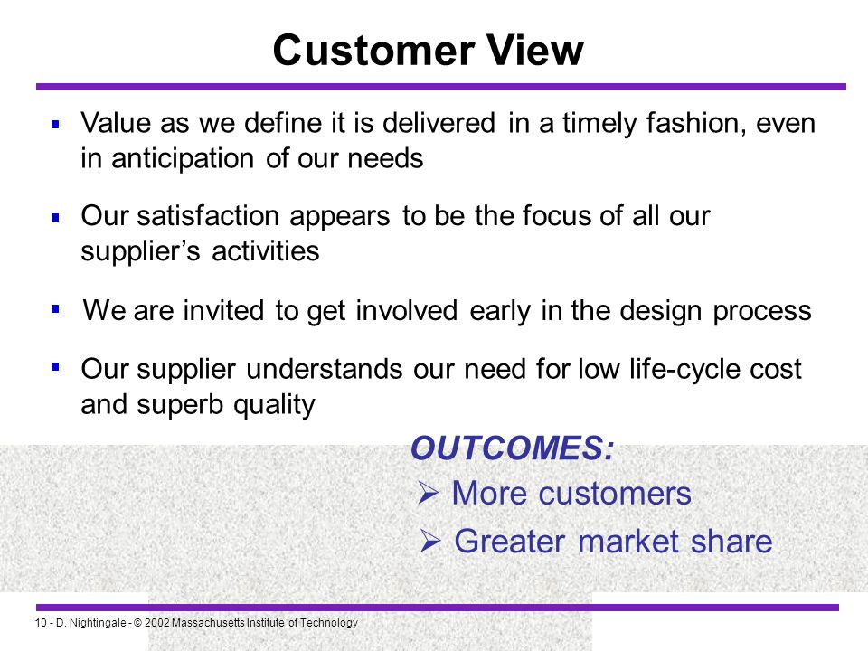 Customer View OUTCOMES:  More customers  Greater market share