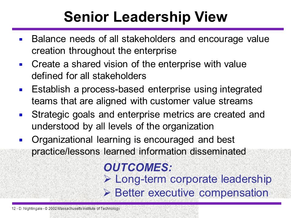 Senior Leadership View
