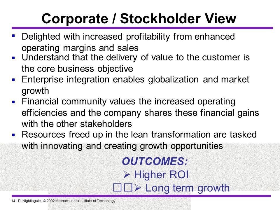 Corporate / Stockholder View