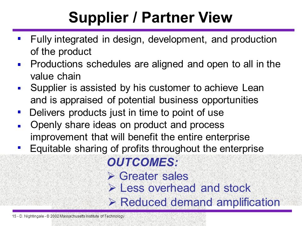 Supplier / Partner View