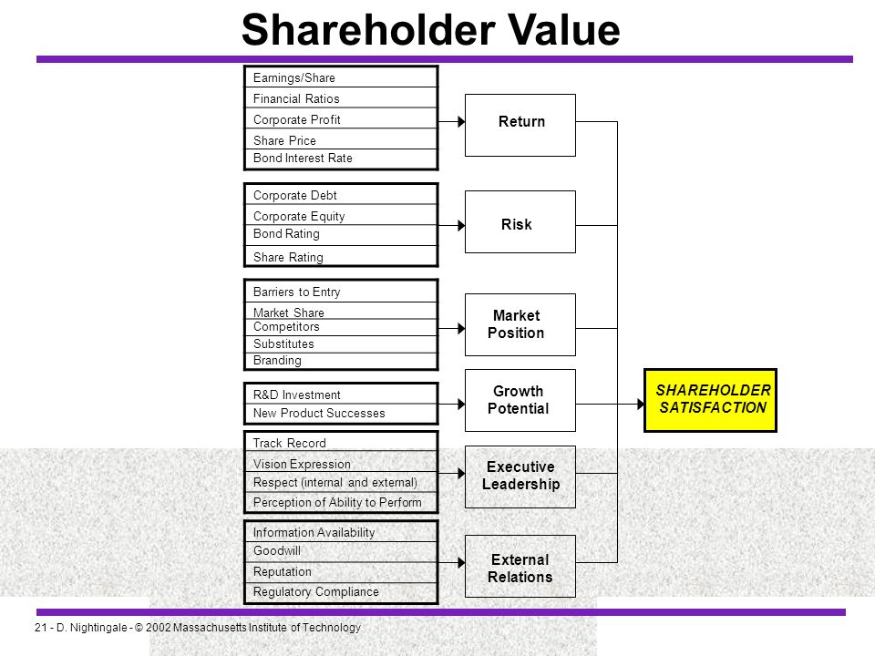 Shareholder Value Return Risk Market Position Growth SHAREHOLDER