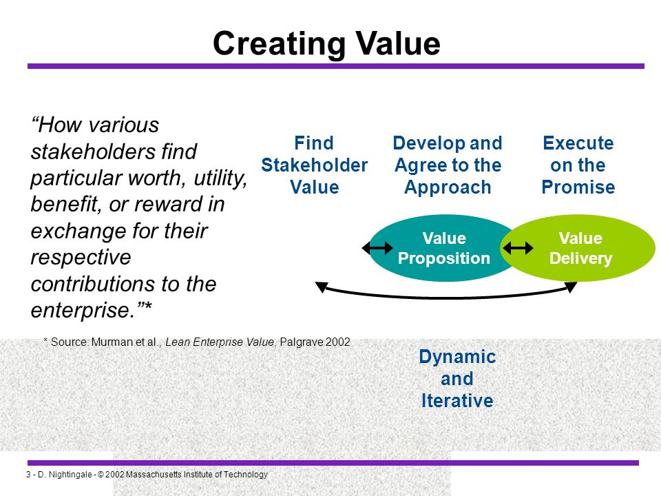 Creating Value How various stakeholders find