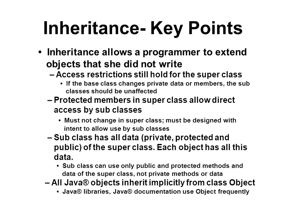 Inheritance- Key Points