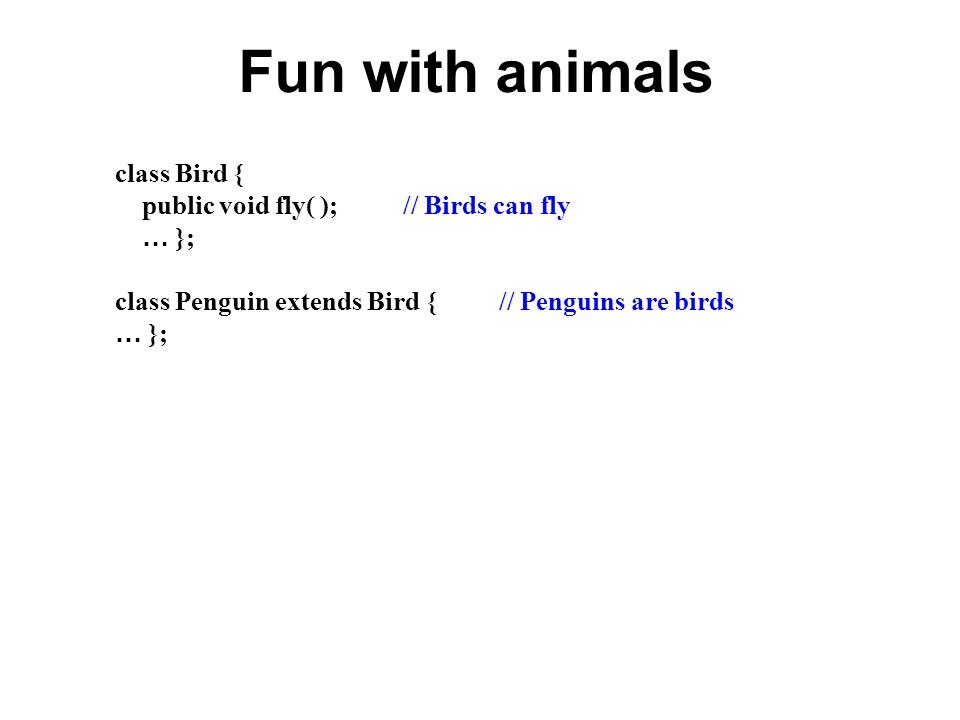 Fun with animals class Bird { public void fly( ); // Birds can fly