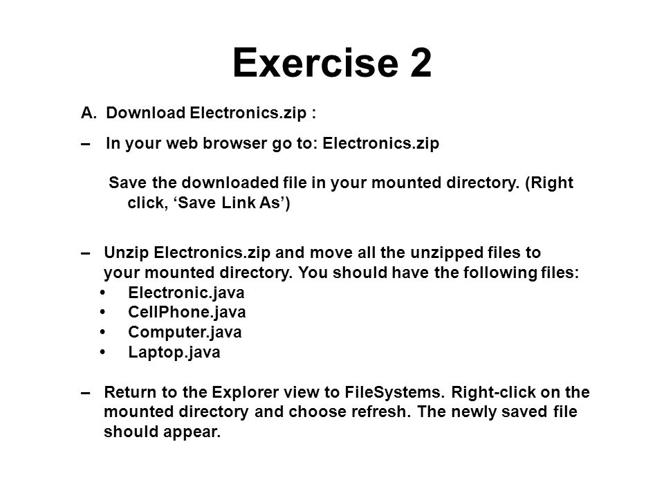 Exercise 2 Download Electronics.zip :