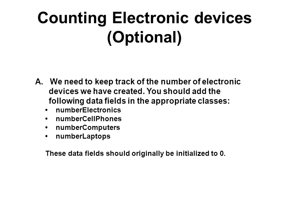 Counting Electronic devices (Optional)