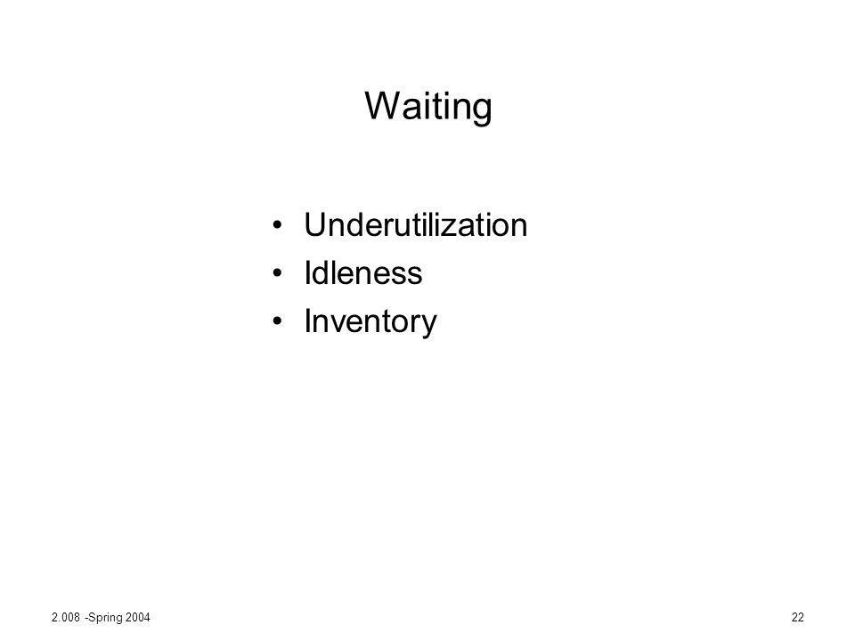 Waiting Underutilization Idleness Inventory 2.008 -Spring 2004