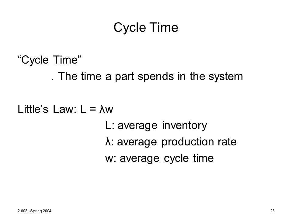 Cycle Time Cycle Time .The time a part spends in the system